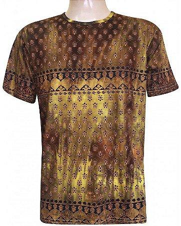 Camiseta Indiana Unissex Extra Grande Tie Dye Amarelo