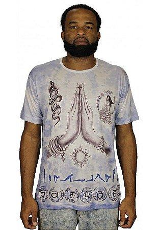 Camiseta Indiana Unissex Namastê Ioga Branca