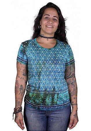 Baby Look Indiana Feminina Violeta Tie-Dye Turquesa