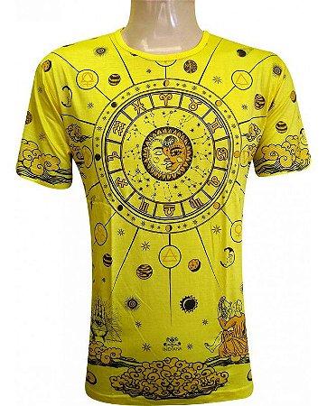 Camiseta Indiana Unissex Zodíaco Amarela