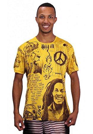 Camiseta Indiana Unissex Bob Marley I wanna love Amarela