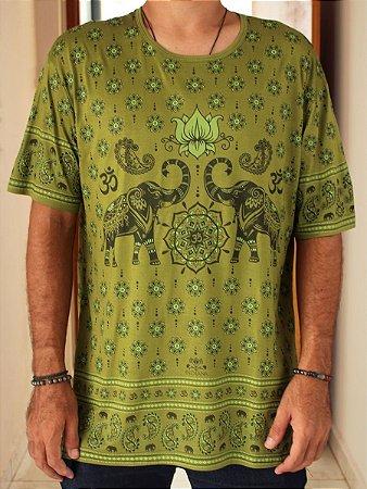 Camiseta Indiana Unissex Elefantes Verde