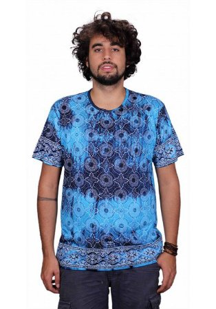 Camiseta Indiana Unissex Star Tie-Dye Marinho