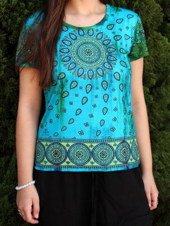Baby Look Indiana Feminina Mandala Tie-dye Turquesa