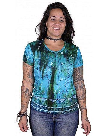 Baby Look Indiana Feminina Tie-dye Passarinhos Azul