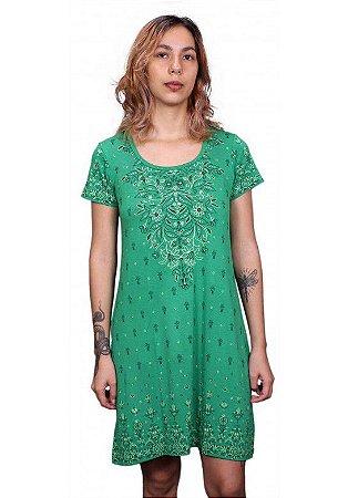 Vestido indiano Manga Curta Estampado Verde