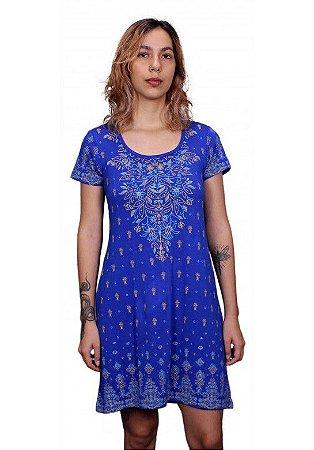 Vestido indiano Manga Curta Estampado Azul