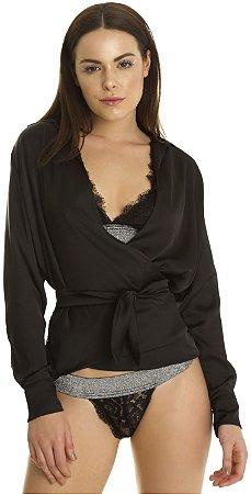 Camisa Cruzada Feminina Amarração Preta