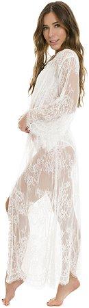 Kimono Robe Renda Chantilly Longo Branco