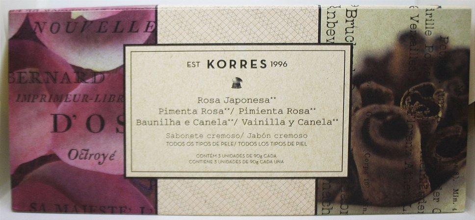 Kit Sabonete Rosa Japonesa, Pimenta Rosa e Baunilha e Canela - 90g cada