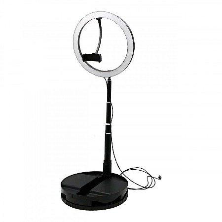 Ring Light com Suporte para Celular 180º com 3 Níveis de Altura Dobrável Portátil 26cm