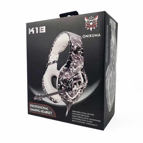 Fone De Ouvido Gamer Onikuma K18 White Camuflado com luz LED