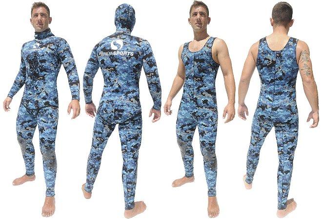 Roupa Onda Sports Neoprene STD Jardineira Camo Blue