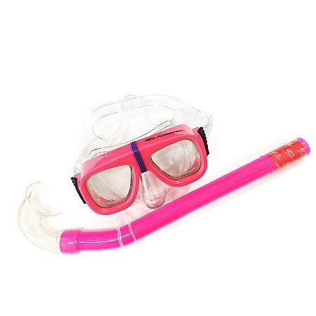 Mascara e Snorkel para Mergulho Recreativo Infantil Rosa