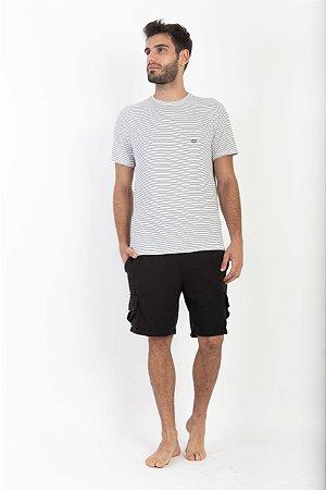 Camiseta Listrada Masculina Manga Curta