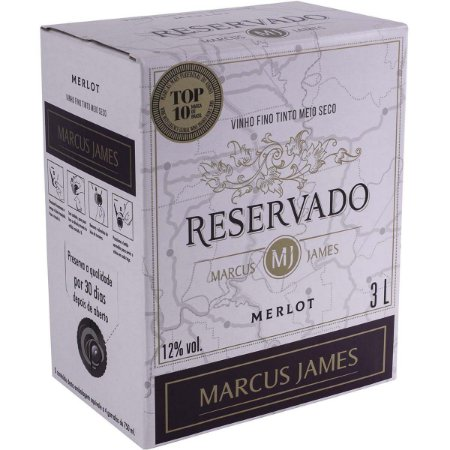 Vinho Marcus James Reservado Merlot Bag In Box 3 Litros