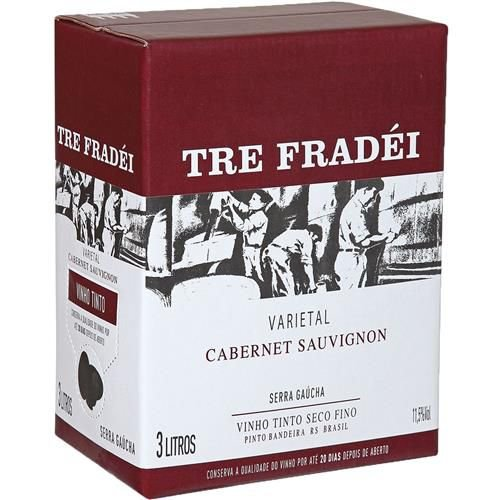 Vinho Tre Fradei Cabernet Sauvignon Bag In Box 3 Litros