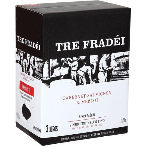 Vinho Tre Fradei Cabernet Sauvignon Merlot Bag In Box 3 Litros