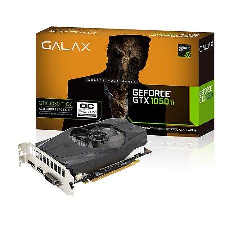 PLACA DE VIDEO GALAX 4GB GEFORCE GTX 1050 TI OC 128 BITS DDR5 50IQH8DSN8OC