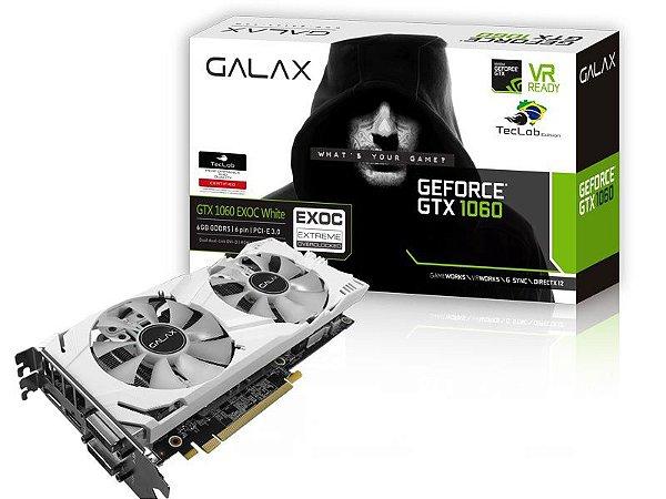 PLACA DE VIDEO GTX 1060 EXOC WHITE TEC LAB 6GB DDR5 192BIT 8008MHZ 1620MHZ 1280 CUDA CORES DVI HDMI DP