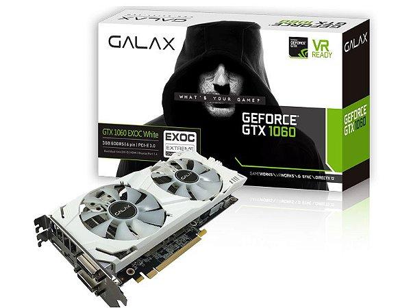 PLACA DE VIDEO GALAX GEFORCE GTX 1060 EXOC WHITE 3GB DDR5 192BIT 60NNH7DVM3NW