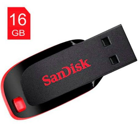 PEN DRIVE 16GB SANDISK CRUZER BLADE SDCZ50 PRETO/VERMELHO