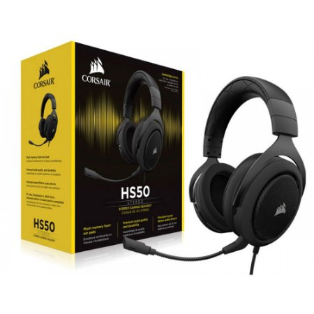 FONE HEADSET CORSAIR GAMING HS50 STÉREO CARBON - CA-9011170-NA