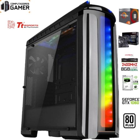 COMPUTADOR GAMER AMD RYZEN 5 2400G 8GB DDR4 NVIDIA GTX 1060 6GB HD1TB 500W 80 PLUS