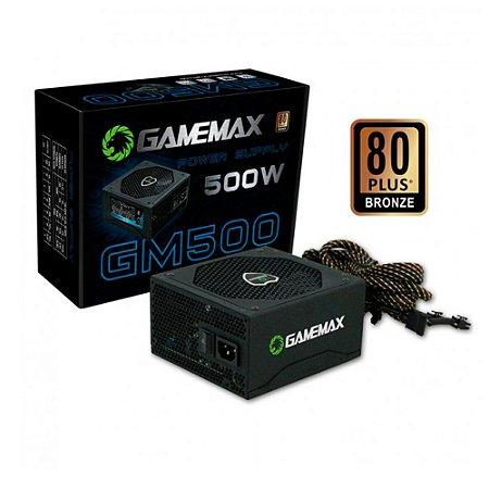 FONTE GAMEMAX 500W GM500 24P SATA 80 PLUS BRONZE PRETO