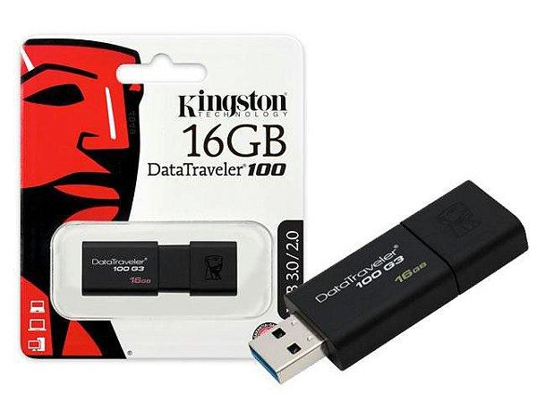 PEN DRIVE 16GB KINGSTON DT100G3 USB 3.0 PRETO