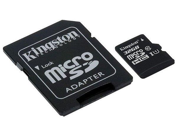 CARTAO DE MEMORIA SD KINGSTON CLASS 10UHSI 32GB MICRO+ADAPTADOR SDCS32GB