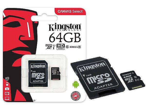 CARTAO DE MEMORIA MICRO SD KINGSTON 64GB CANVAS SELECT 80R UHS-I CLASSE 10