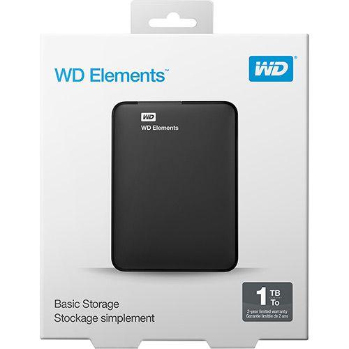 HD EXTERNO 1TB WD ELEMENTS USB 3.0 PRETO WESTERN DIGITAL WDBUZG0010BBK