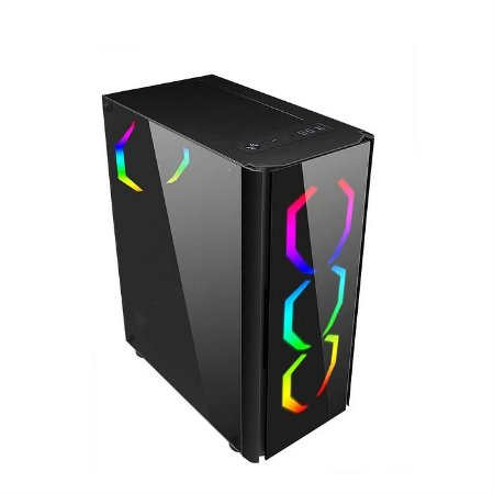 GABINETE GAMER LIKETEC STREAMER MID TOWER 3 FAN RGB LATERAL VIDRO CONTROLE REMOTO