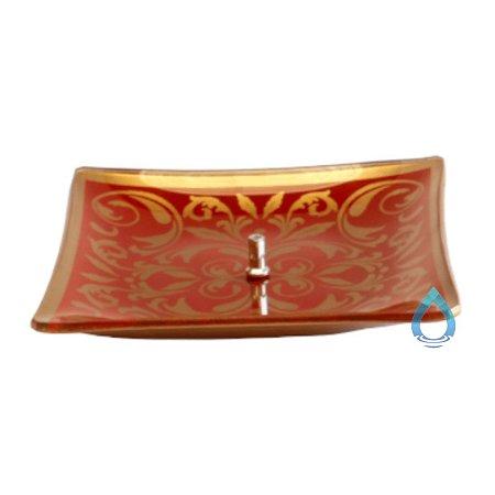 Porta Incenso Quadrado Vermelho com Dourado