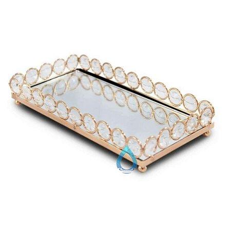 Bandeja Retangular Espelhada Ouro 20x10 cm