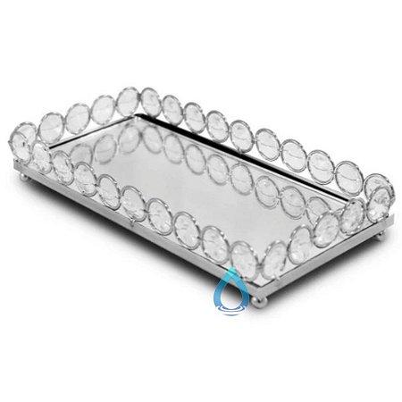 Bandeja Retangular Espelhada Prata 20x10 cm