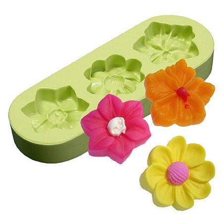 Fôrma de Silicone Flor Com Hibisco