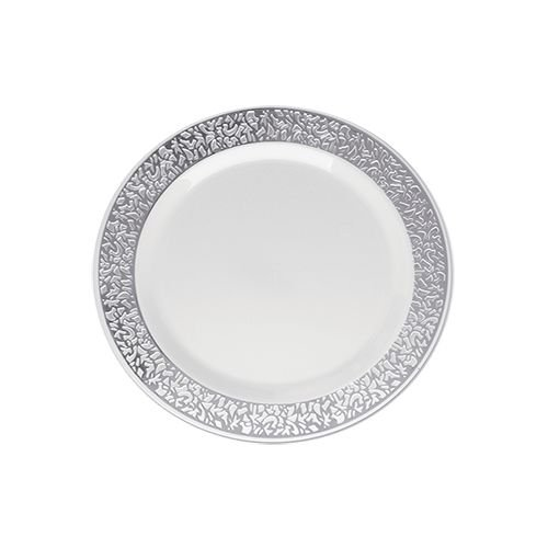 Prato Sobremesa Silverplastic Vazado Prata 6X1