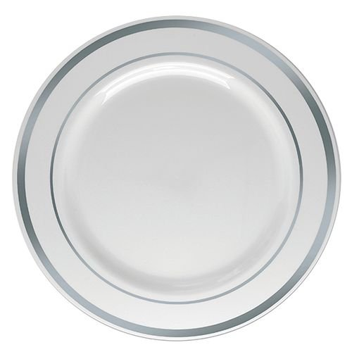 Prato Refeição Silverplastic Detalhe Prata 6X1