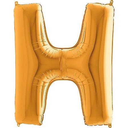 """Balão Flexmetal Dourado """"H"""" 40''/101CM"""