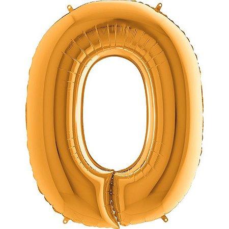 """Balão Flexmetal Dourado """"O"""" 40''/101CM"""