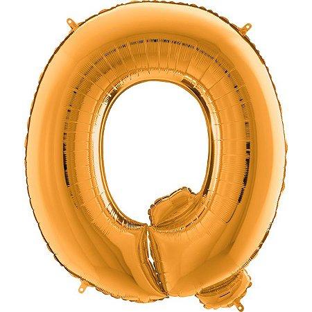 """Balão Flexmetal Dourado """"Q"""" 40''/101CM"""