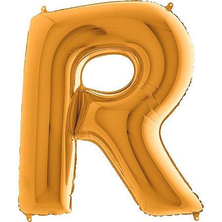"""Balão Flexmetal Dourado """"R"""" 40''/101CM"""