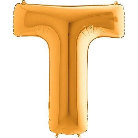 """Balão Flexmetal Dourado """"T"""" 40''/101CM"""