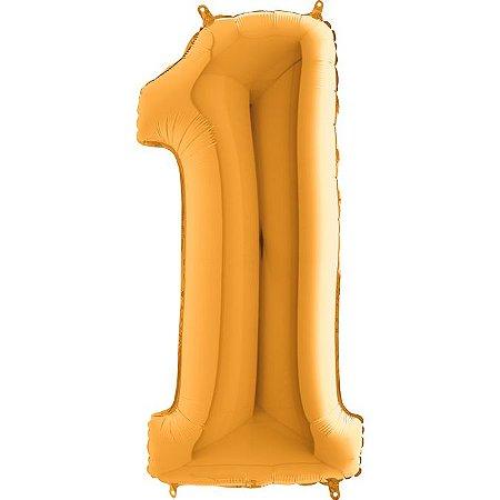 """Balão Flexmetal Dourado """"1"""" 40''/101CM"""