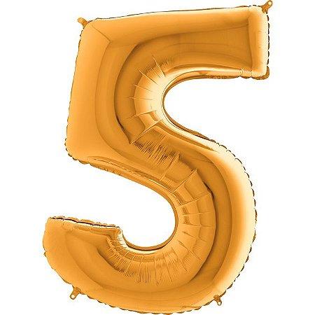 """Balão Flexmetal Dourado """"5"""" 40''/101CM"""