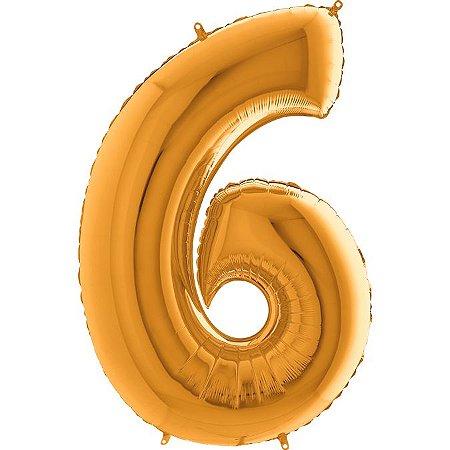 """Balão Flexmetal Dourado """"6"""" 40''/101CM"""
