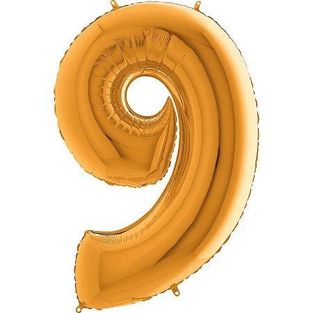 """Balão Flexmetal Dourado """"9"""" 40''/101CM"""