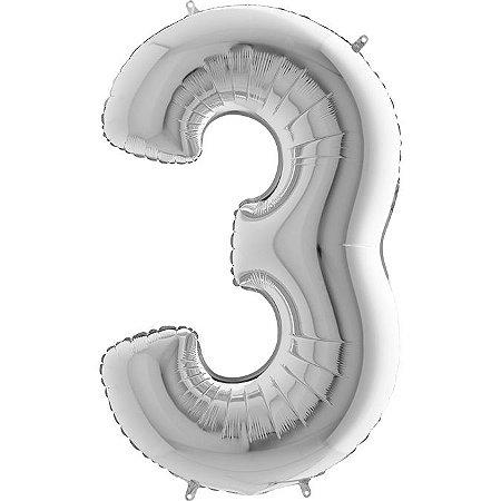 """Balão Flexmetal Prata """"3"""" 40''/101CM"""